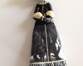 Handmade Hanging Wolf Girl Ornament with Ringling Bros Elephant Skirt