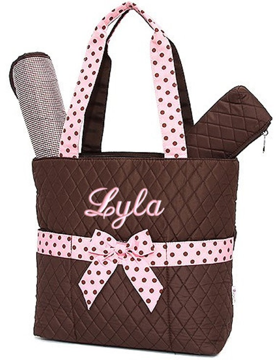 Diaper Bag Personalized Quilted Brown Pink Polka Dots Monogrammed Embroidered