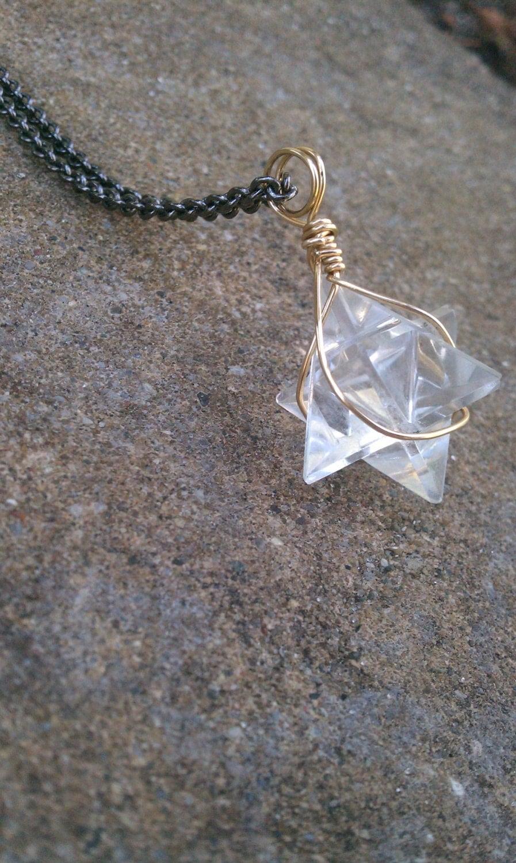 merkaba necklace quartz necklace by lizkatdesigns