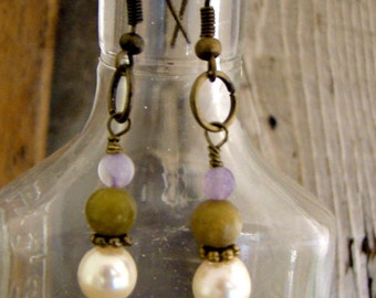 SALE Natural Pearl Green Jade and Amethyst Dangle earrings Bronze Copper Wire   1.99 SHIPPING USA