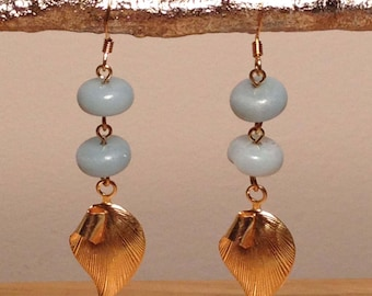 Amazonite brass leaf earrings