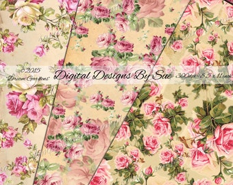Dream Gardens Paper Pack- Gorgeous Paper Set -  Collage Sheets -Download - Digital Art, Crafts, Scrapbooking