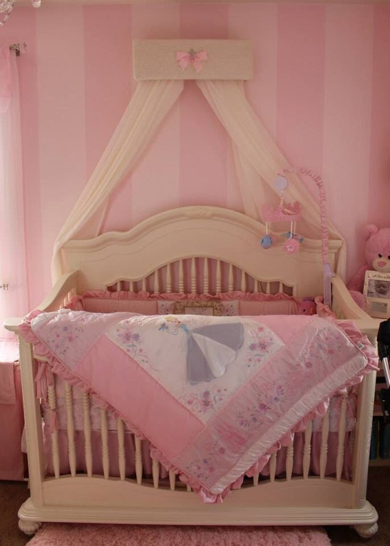 Nursery bed crown canopy princess upholstered ivory lace pink for Nursery crown canopy