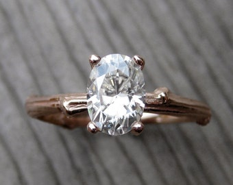Oval Moissanite Twig Engagement Ring: Rose, White, Yellow Gold; 7x5mm Forever Brilliant™