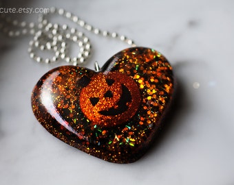 Necklace for Halloween, Resin Jewelry, Novelty Pendant, Spooky Pumpkin Orange, Heart Shaped Resin Spooky Cute Halloween Necklace by isewcute