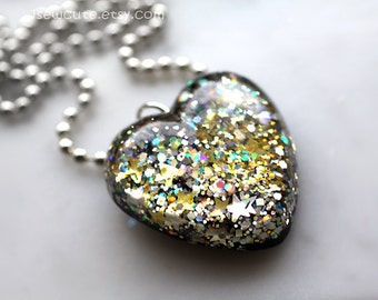 Holiday Jewelry - Silver and Gold Sparkles - Necklace with Gorgeous Resin Heart Pendant  - Resin Glitter Heart Necklace Handmade by isewcute