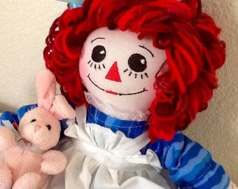 Raggedy Ann Doll Turquoise Dress with little Bunny Handmade 15 inches tall, Ready to ship