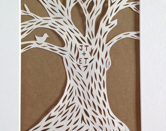Personalized Papercut, Woodland Tree, Handmade Wall Art, Brown or Red Background, Framed Art