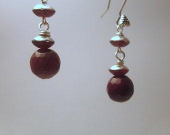Carnelian and Czech Glass Dangle Earrings