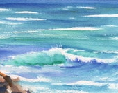 Kauai Seashore 1 Original Watercolor Painting from Kauai Hawaii blue teal turquoise aqua lava rocks