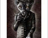 Nosfercatu-  11 x 14 signed print Cat as Classic Vampire
