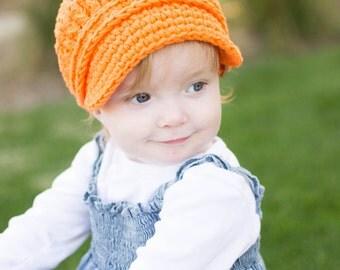 Orange Toddler Newsboy Cap 2T to 4T Toddler Girl Newsboy Hat Toddler Boy Newsboy Crochet Toddler Girl Hat Toddler Boy Hat Toddler Hat Buckle