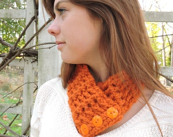 Orange Pumpkin Scarf Orange Pumpkin Scarflette Orange Scarf Orange Scarflette Womens Scarf Womens Scarflette Button Scarflette Crochet Scarf