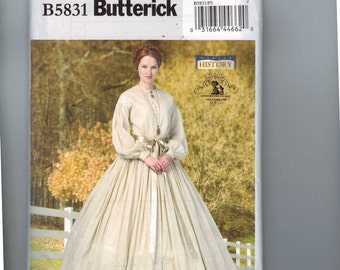 Misses Sewing Pattern Butterick B5831 Vintage Making History Victorian Full Skirt Historical Costume Dress 1860s Size 8-16 or 16-24 UNCUT