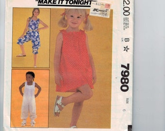 Childs Sewing Pattern McCalls 7980 Girls Dress and Jumpsuit Size 6 Breast 25 1982 80s UNCUT  99