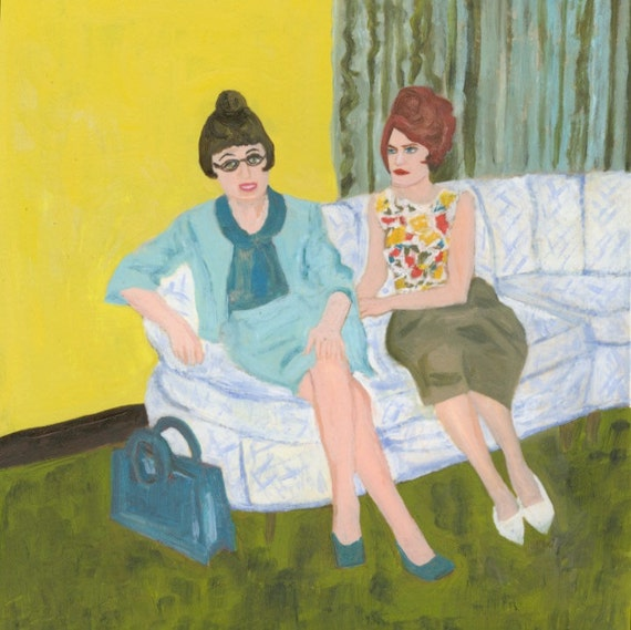 Helen and Florence.  Original mixed media oil painting by Vivienne Strauss.