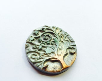 Twirly Tree of Life Silver Green Earth Handmade Polymer Clay Pendant