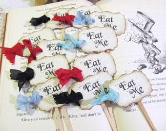 Alice Eat Me Cupcake Toppers w/ribbons - Set of 12 or 18 -  Choose Ribbon Color - Alice Party Shower Unbirthday Tea Looking Glass