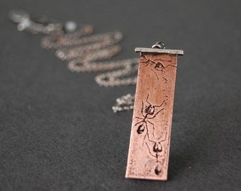 Ant Necklace in Sterling Silver & Copper; Handmade Insect Jewelry in Oxidized Silver and Etched Copper, Ant Jewelry, Bug Jewelry