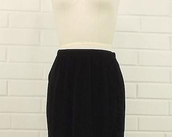 Vintage Fringed Mock Wrap Black Skirt with Elastic Waist, Size 0