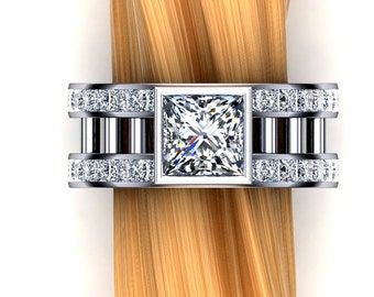 Two Carat Diamond Engagement Ring, Princess Cut, Double Rows of Accent Diamonds