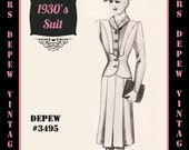 Vintage Sewing Pattern 1930's Suit Jacket and Skirt Any Size Depew 3495 Draft at Home Pattern - PLUS Size Included -INSTANT DOWNLOAD-