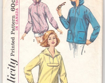 1960's Vintage Sewing Pattern Ladies' Hooded Jacket and Parka Simplicity 5256 - With Free Pattern Grading E-book Included