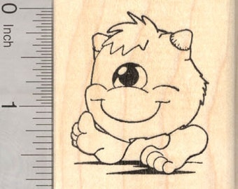 Halloween Monster Rubber Stamp, One-Eyed Fuzz Ball G25801 Wood Mounted