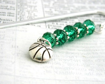 Basketball Bookmark with Emerald Green Glass Beads Shepherd Hook Steel Bookmark Silver Color