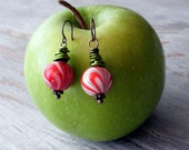 Sweet Treats- Candy Cane Swirled Wire Wrapped Earrings