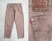 vintage c. 1980s sand colored Levi's 550 jeans - 32 x 30