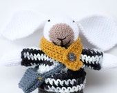 Noah a handmade knitted bunny rabbit soft children's toy wearing crochet clothes, handmade toy, hand knitted animal, toy bunny