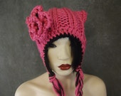 Knit PInkHat,Kitty Kat Hat,Cat Hat,Ear flap hat,Girls,Accessory,Winter Hat, Women's Hat,Crochet Flower