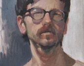 """Sale! Art painting portrait """"Spectacles"""" 12x9 inch original oil by Oregon artist Sarah Sedwick"""