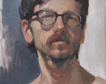 "Sale! Art painting portrait ""Spectacles"" 12x9 inch original oil by Oregon artist Sarah Sedwick"