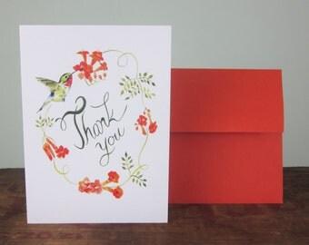 Thank you card, Hummingbird Card,