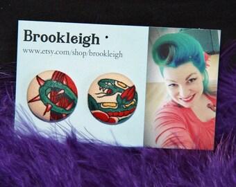 "Fabric covered earrings, 23mm (7/8""), Retro/ Vintage /Rockabilly inspired. ALEXANDER HENRY Tattoo snake design"