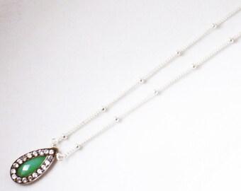 Green Chrysoprase Necklace Pendant White Topaz Pavé Small Teardrop Green Gemstone Necklace GEM-P-142-Chrys