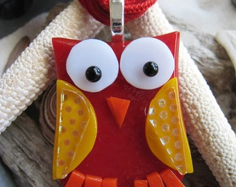 Fused glass OWL Pendant w/ matching silk ribbon~ One Of A Kind