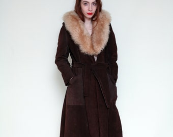 Vintage 1970s SHEARLING & LEATHER Jacket | 70s Brown Belted Duster Coat with FUR Trim Collar | s-l