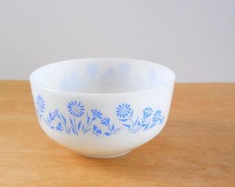 Vintage Federal Glass Mixing Bowl • Blue Cornflower Milk Glass • 2 1/2 Quart