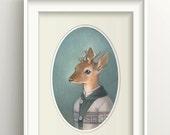 "Deer Art, Deer Painting, Forest Animal Print, Fawn Fine Art Print, ""Cecil"""