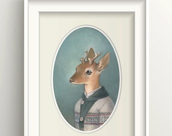 "Deer Art, Deer Painting, Forest Animal Print, Fawn Art Print, ""Cecil"""