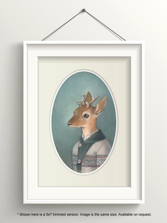 "Deer Art, Deer Painting, Forest Animal Print, Fawn Fine Art Print, ""Cecil"""