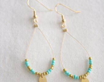 Aqua and Gold Dangle Loop Earrings