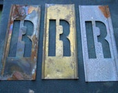 r - vintage brass stencil letter for altered art and crafting - stencil letter monogram