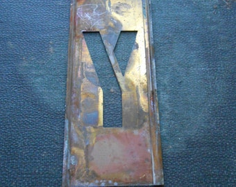 y - vintage brass stencil letter for altered art and crafting - stencil letter monogram