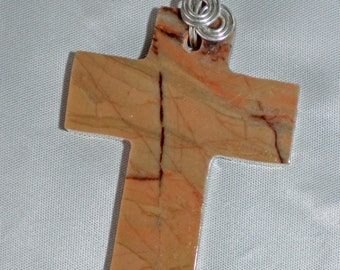 Large wirewrapped your choice Michigan Kona Dolomite cross pendant necklace  from Marquette