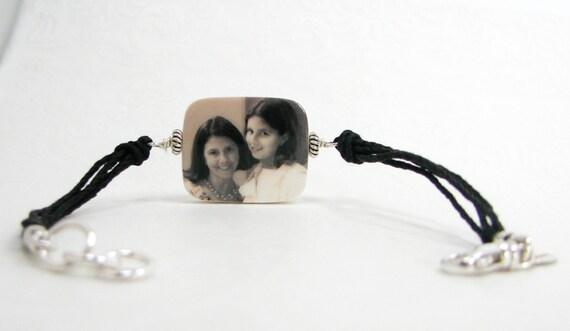 Hemp Cord Bracelet with Photo Charm - Medium - P2RB12