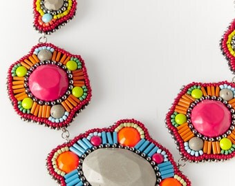 Bead embroidered handmade necklace - Facets Collection -
